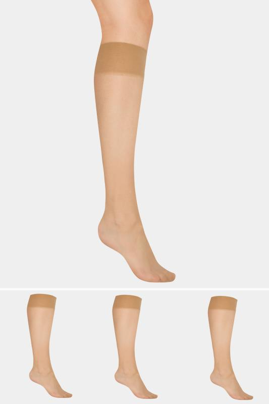 Nude 3 PACK Knee High 15 Denier Tights