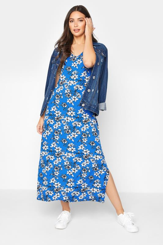 LTS Blue Floral Print V-Neck Midi Dress_B.jpg