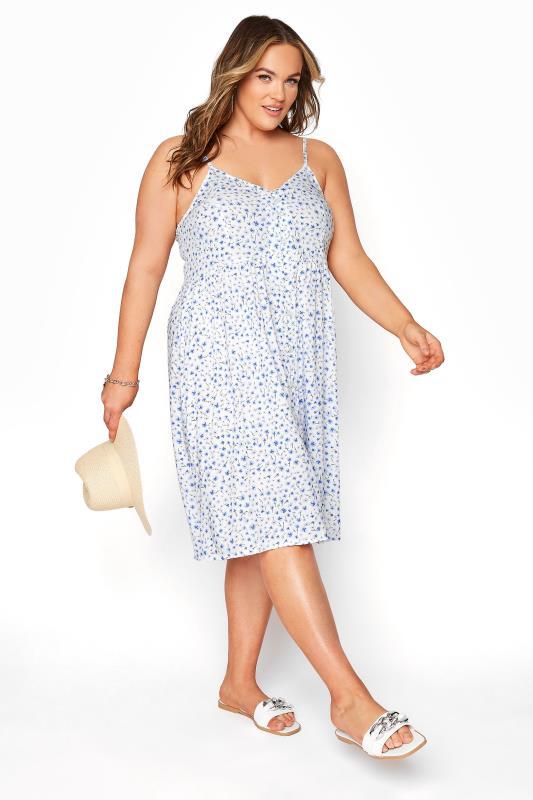 Plus Size  White Blue Daisy Button Front Cami Dress