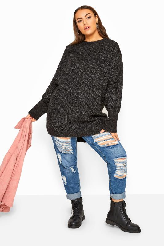 Black Marl Oversized Knitted Jumper