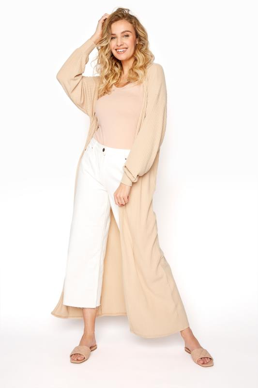 LTS Beige Ribbed Balloon Sleeve Maxi Cardigan