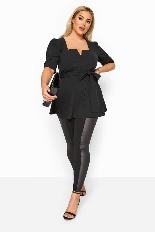 Plus Size Party Tops YOURS LONDON Black Notch Neck Belted Peplum Top