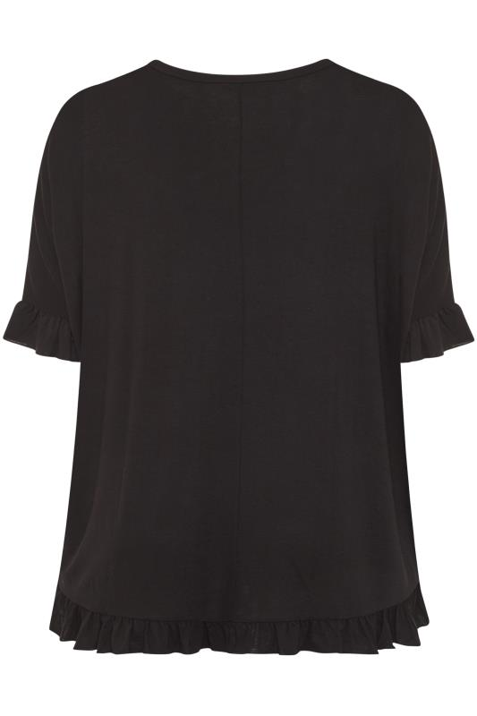 LIMITED COLLECTION Black Frill Jersey T-Shirt_BK.jpg