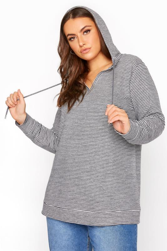 Plus Size  Grey Stripe Cotton Jersey Hoodie