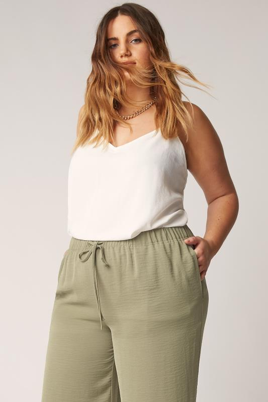 THE LIMITED EDIT Olive Green Wide Leg Trousers_D.jpg