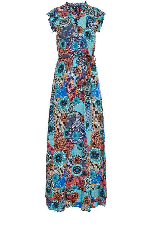 LTS Blue Circle Frill Wrap Maxi Dress_f.jpg