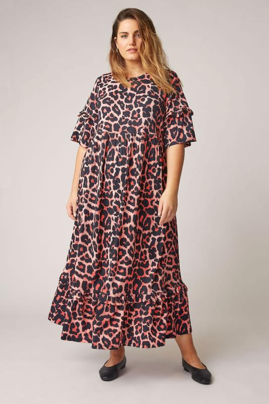 THE LIMITED EDIT Pink Leopard Print Smock Midaxi Dress_A.jpg