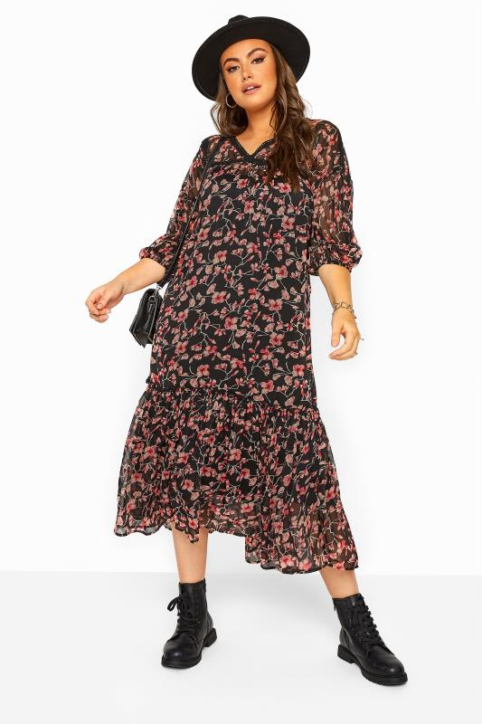 LIMITED COLLECTION Black Floral Lace 2 in 1 Maxi Dress