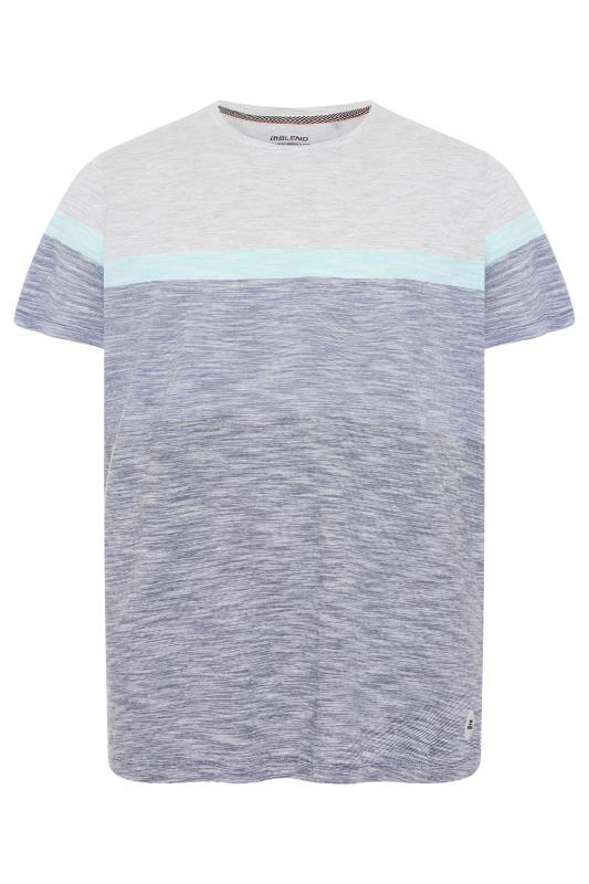 Grande Taille BLEND Blue Colour Block Cotton T-Shirt
