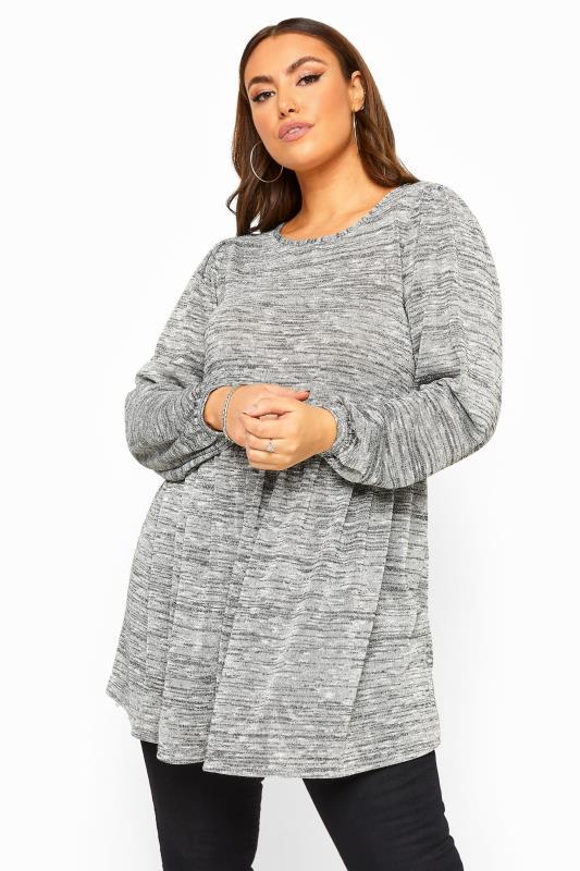 Plus Size Jersey Tops Grey Metallic Balloon Sleeve Peplum Smock Top