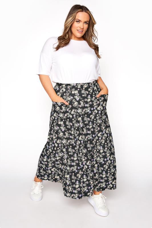 Tallas Grandes Black Floral Print Pocket Maxi Skirt