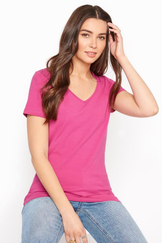Pink Cotton Stretch V-Neck T-Shirt