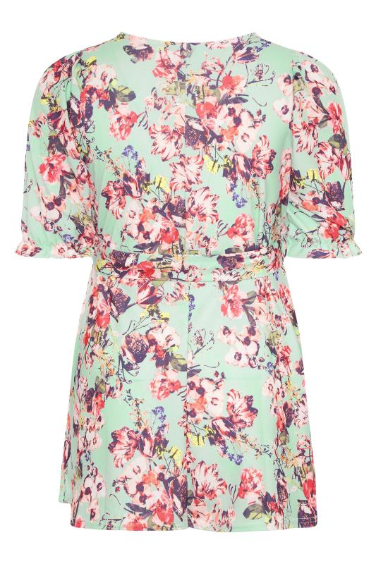 YOURS LONDON Sage Green Floral Puff Sleeve Wrap Top_BK.jpg