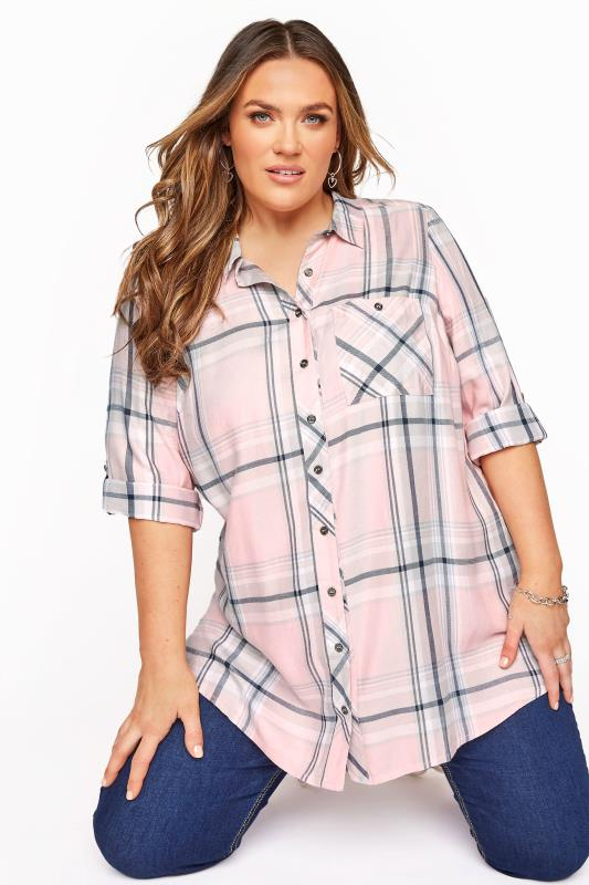 Plus Size  Pink Check Boyfriend Shirt