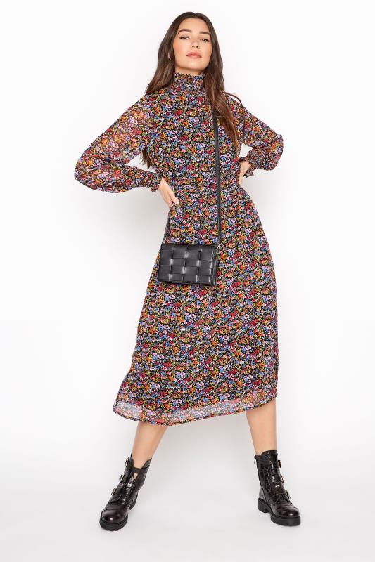 LTS Black Floral Chiffon Shirred Midi Dress