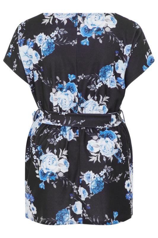 YOURS LONDON Black Floral Belted Peplum Top