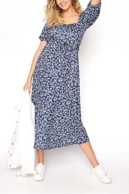 LTS Maternity Navy Blue Ditsy Square Neck Puff Sleeve Milkmaid Dress_B.jpg