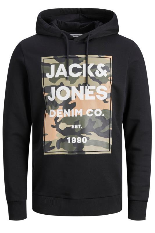 JACK & JONES Black Camo Graphic Print Hoodie