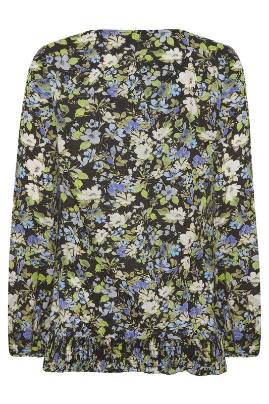 Black Floral Print Frill Neck Top_BK.jpg
