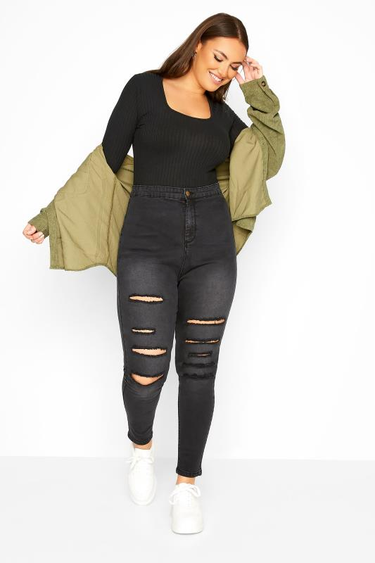 Plus Size  Black Washed Ripped High Rise KIM Skinny Jeans