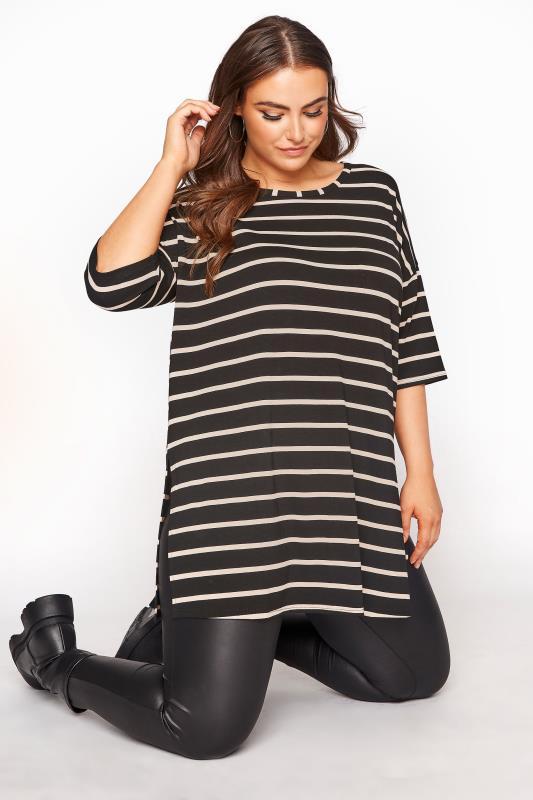 Plus Size  Black Striped Oversized T-shirt