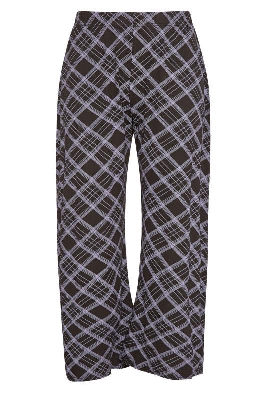 Plus Size  Black Check Print Wide Leg Trousers