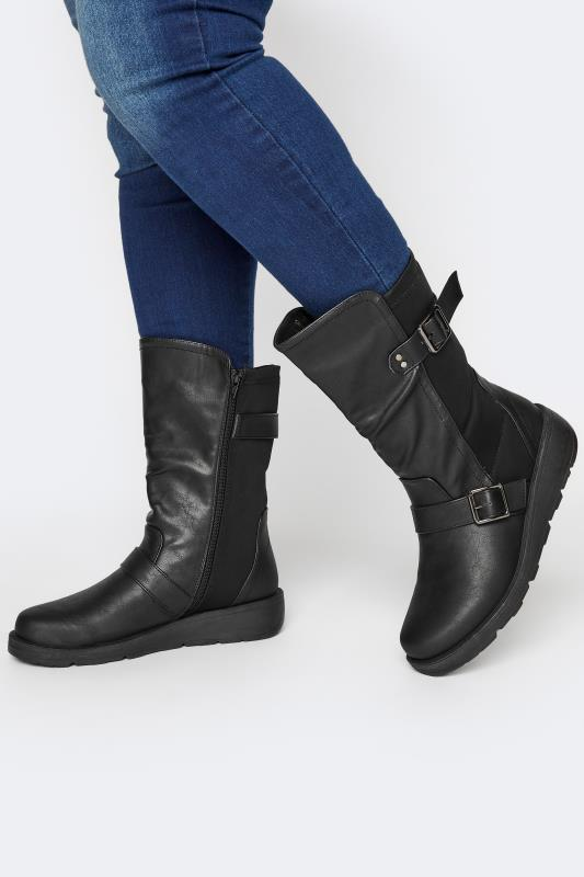 Grande Taille Black Faux Leather Wedge Buckle Boots In Extra Wide Fit