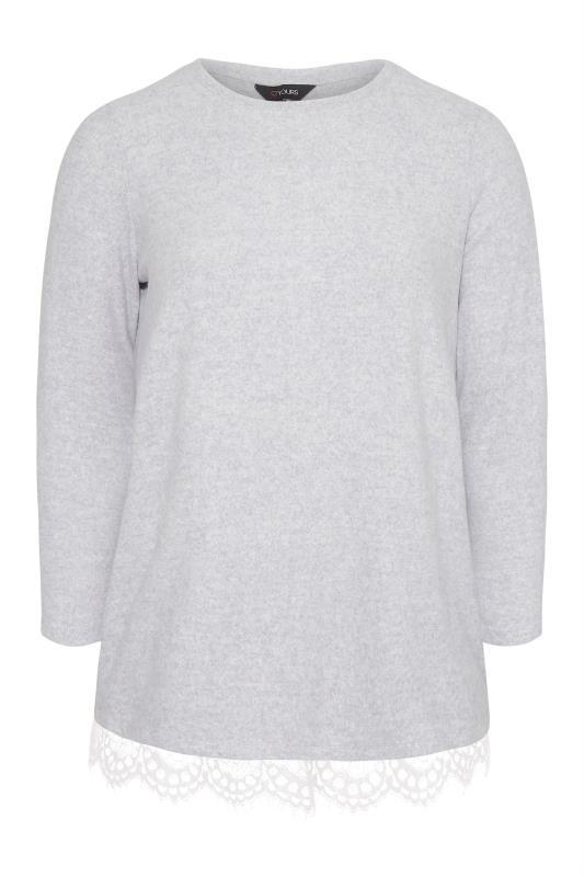Tallas Grandes Grey Lace Hem Soft Touch Jumper