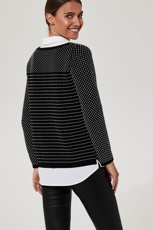 KARL LAGERFELD Black Dotted Stripe Shirt Jumper