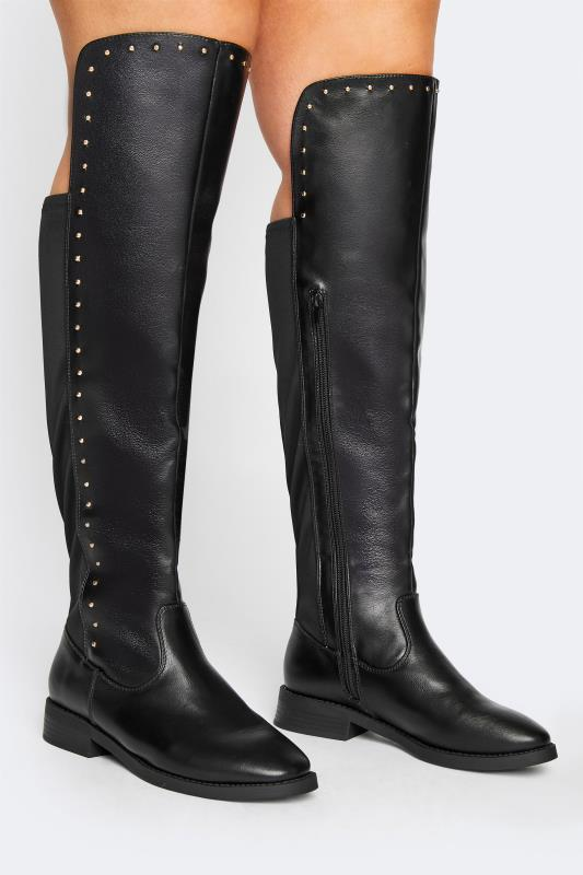 LIMITED COLLECTION Black PU Stud Over The Knee Boots In Extra Wide Fit_M.jpg