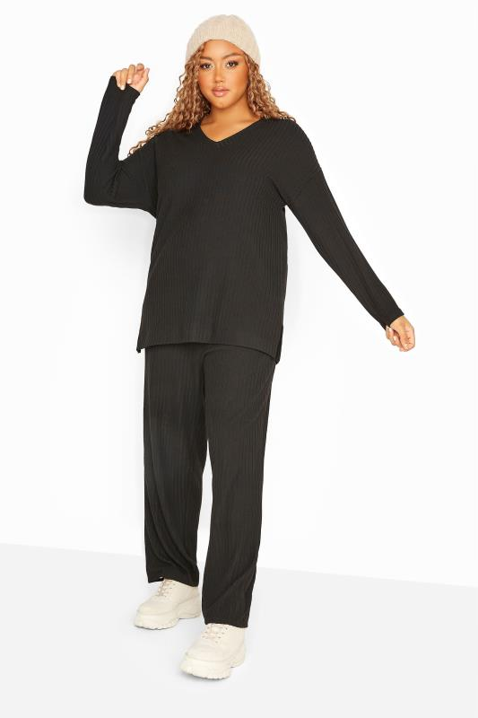 Grande Taille Black Wide Leg Ribbed Co-ord Lounge Pants