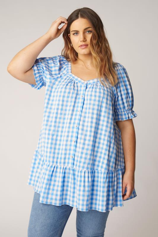 THE LIMITED EDIT Blue Gingham Puff Sleeve Tunic_A.jpg