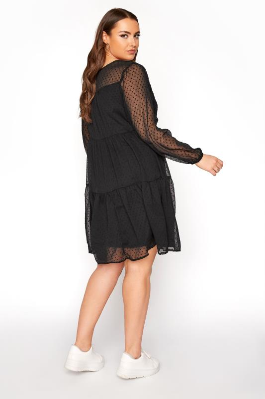 LIMITED COLLECTION Black Dobby Mesh Tiered Dress_C.jpg