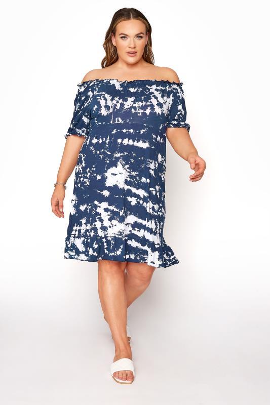 Plus Size  LIMITED COLLECTION Navy Tie Dye Bardot Midi Dress