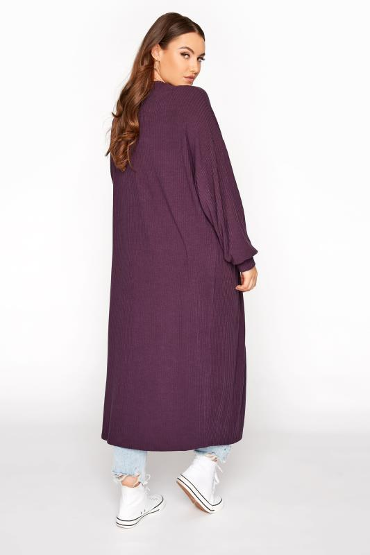 LIMITED COLLECTION Plum Ribbed Long Cardigan_C.jpg