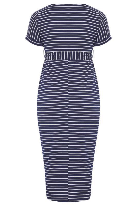 BUMP IT UP MATERNITY Navy & White Stripe Tie Waist Wrap Dress_BK.jpg