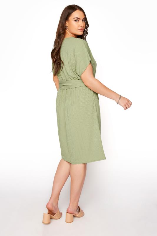 YOURS LONDON Green Ribbed Belted Dress_C.jpg