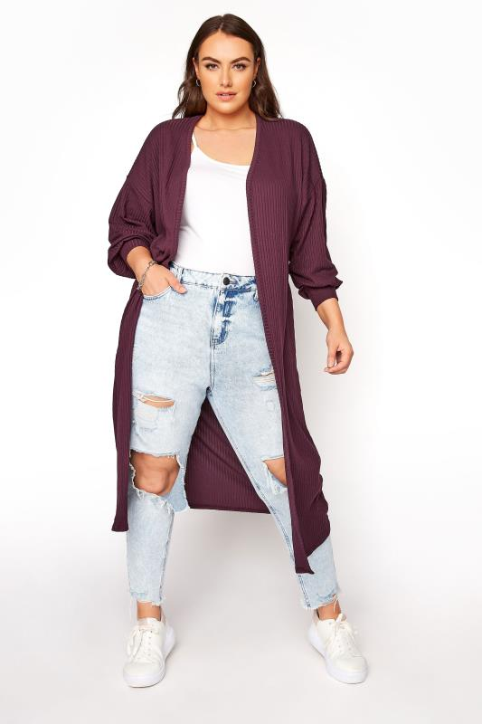 LIMITED COLLECTION Plum Balloon Sleeve Brushed Maxi Cardigan_A.jpg