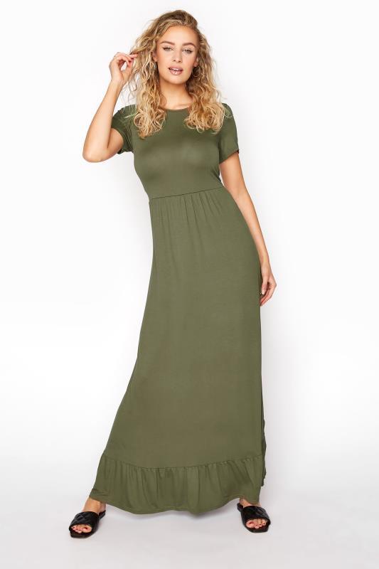 Tall  LTS Khaki Tiered Maxi Dress