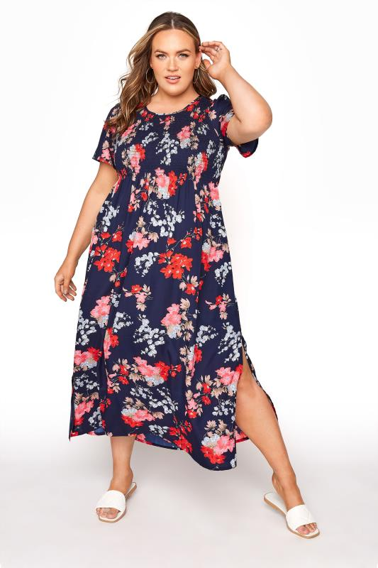 Grande Taille Blue Floral Shirred Maxi Dress
