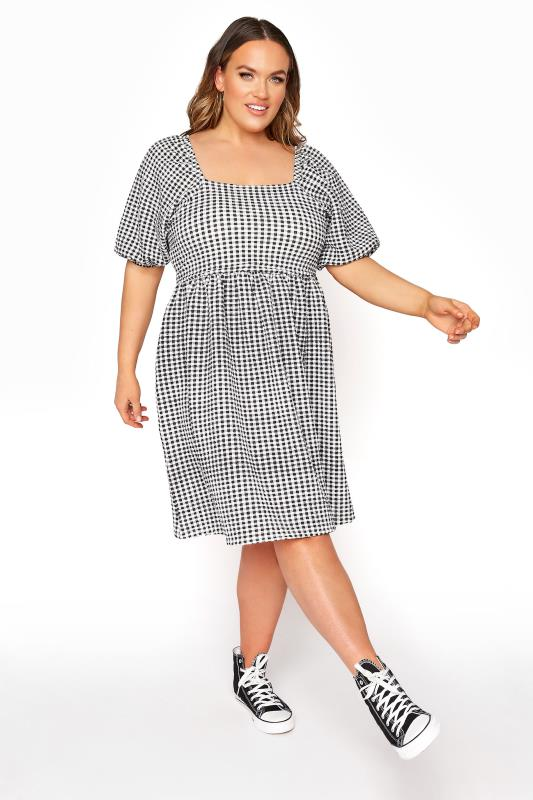 Plus Size  LIMITED COLLECTION Black Gingham Milkmaid Dress