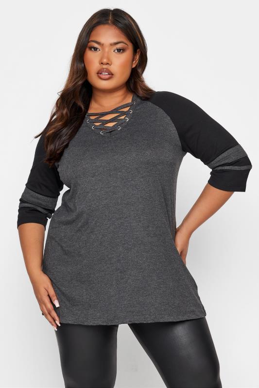 Plus Size  Charcoal Grey Colour Block T-Shirt