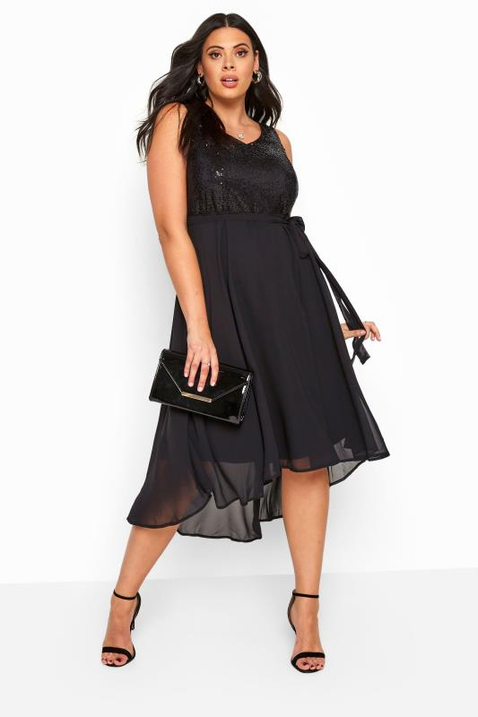 Plus Size Evening Dresses Black Sequin Embellished Dress