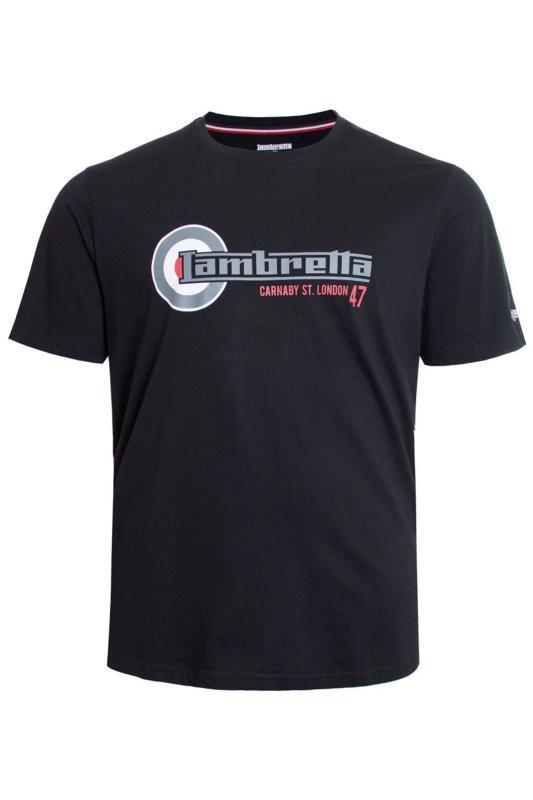 Plus Size  LAMBRETTA Black Printed Cotton T-Shirt
