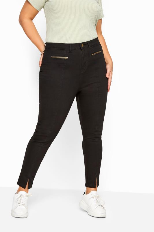 Plus Size Skinny Jeans Black Front Split Hem Skinny Stretch AVA Jeans