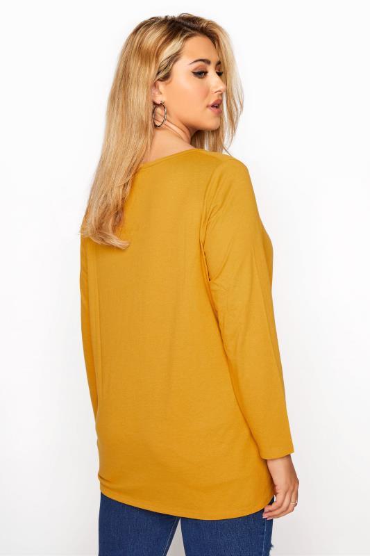 Mustard Yellow Long Sleeve Scoop Neck T-Shirt_C.jpg