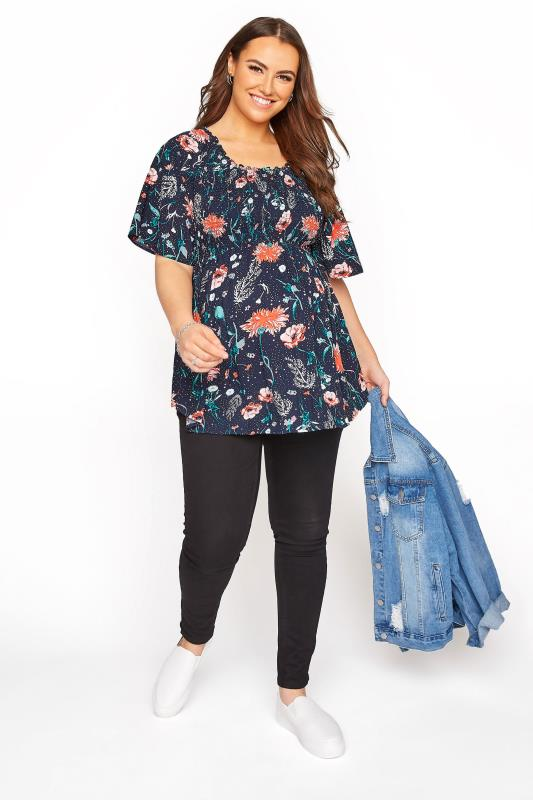 BUMP IT UP MATERNITY Navy Floral Shirred Bodice Top