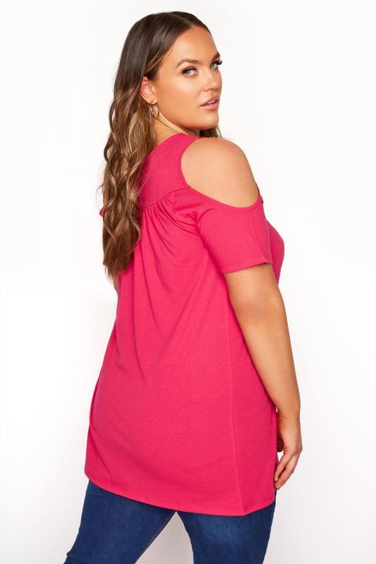 Hot Pink Lace Cold Shoulder Top_C.jpg