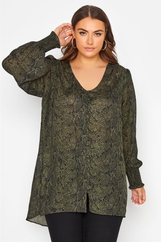 Plus Size  YOURS LONDON Khaki Green Snake Print Blouse
