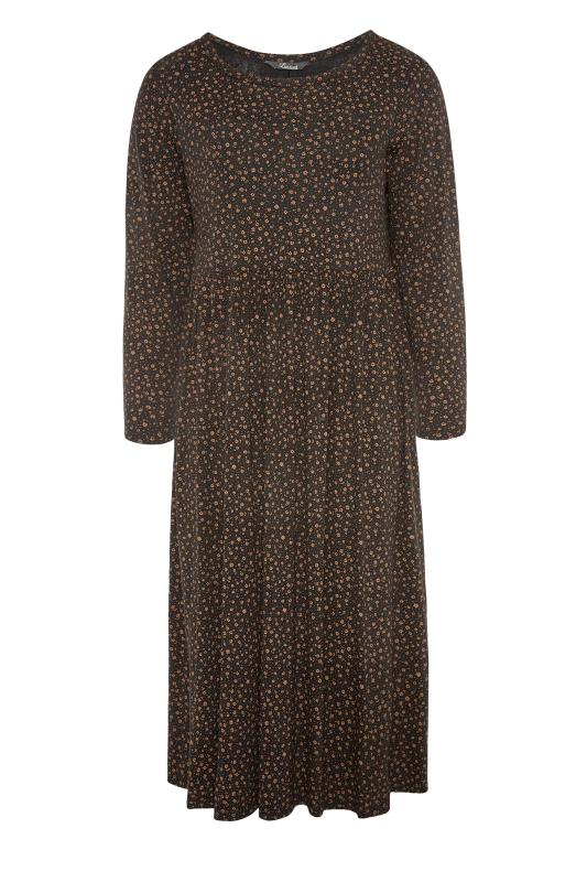 LIMITED COLLECTION Brown Ditsy Print Smock Midaxi Dress_F.jpg